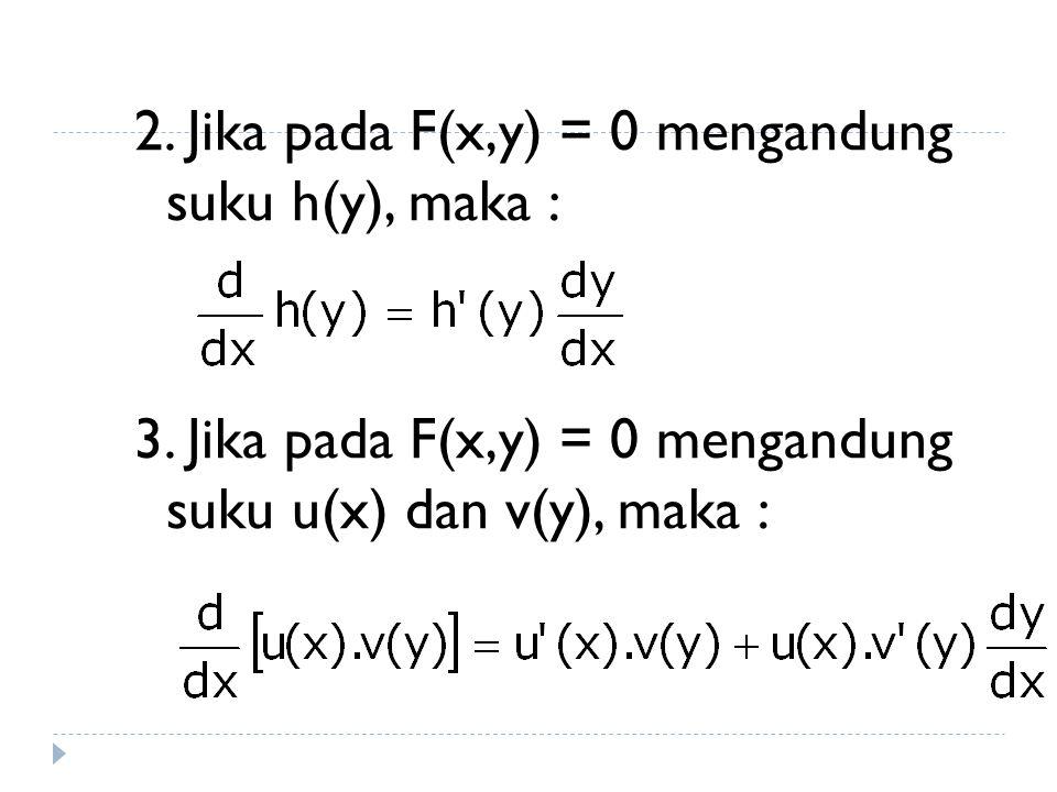 Turunan fungsi implisit 1. Jika pada F(x,y) = 0 mengandung suku g(x), maka :