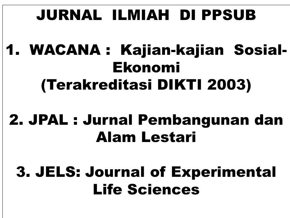 JURNAL ILMIAH DI PPSUB 1. WACANA : Kajian-kajian Sosial- Ekonomi (Terakreditasi DIKTI 2003) 2. JPAL : Jurnal Pembangunan dan Alam Lestari 3. JELS: Jou