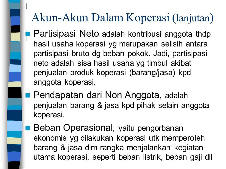 Akun-Akun Dalam Koperasi ( lanjutan ) Partisipasi Neto adalah kontribusi anggota thdp hasil usaha koperasi yg merupakan selisih antara partisipasi bruto dg beban pokok.
