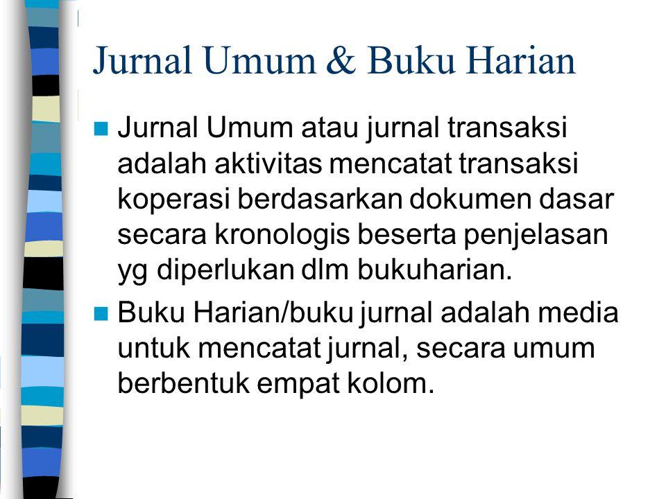 Jurnal Umum & Buku Harian Jurnal Umum atau jurnal transaksi adalah aktivitas mencatat transaksi koperasi berdasarkan dokumen dasar secara kronologis b