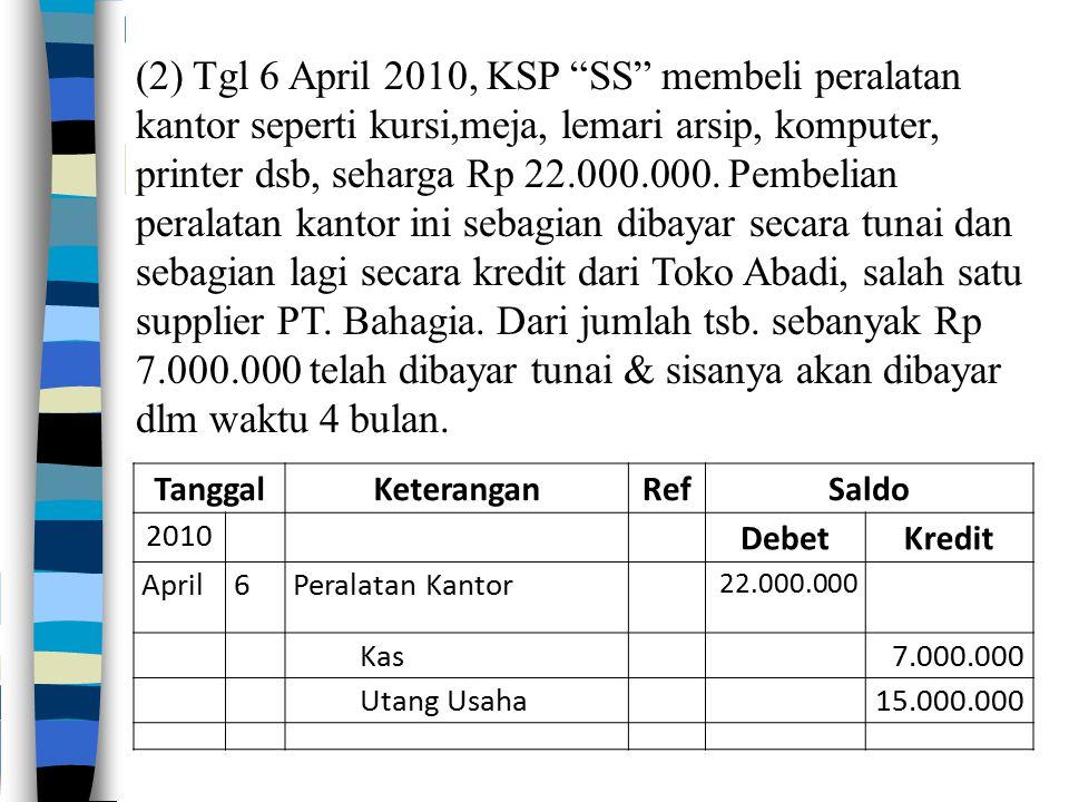 """(2) Tgl 6 April 2010, KSP """"SS"""" membeli peralatan kantor seperti kursi,meja, lemari arsip, komputer, printer dsb, seharga Rp 22.000.000. Pembelian pera"""