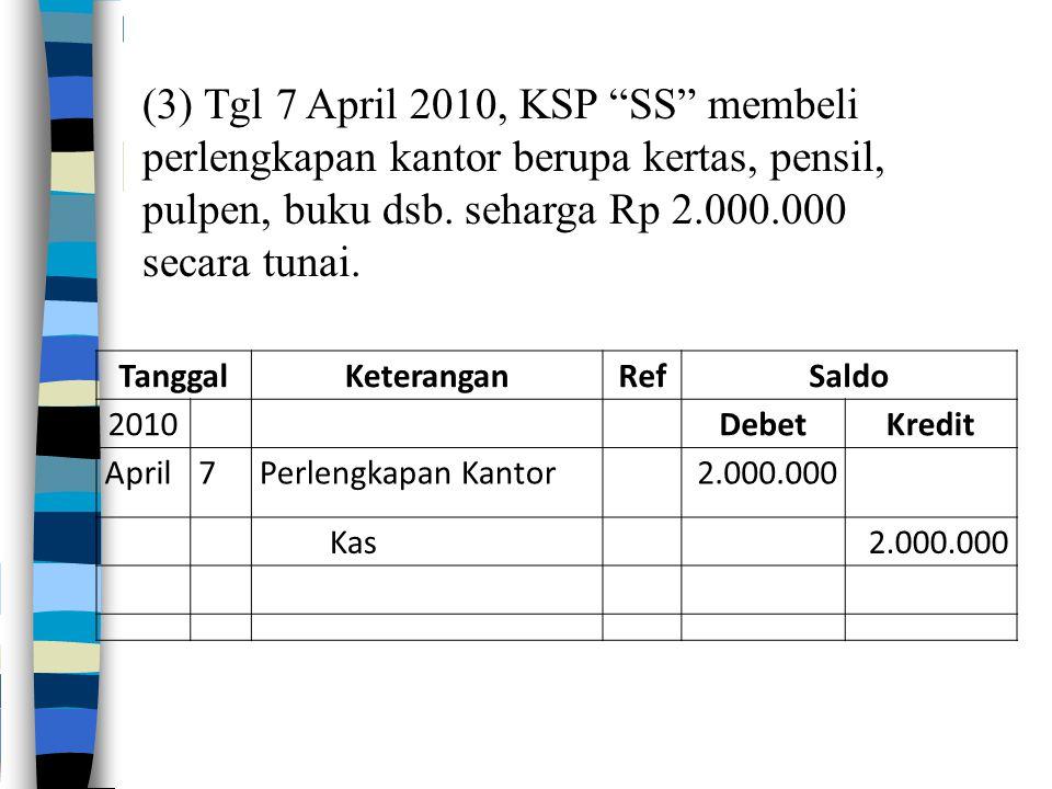 """(3) Tgl 7 April 2010, KSP """"SS"""" membeli perlengkapan kantor berupa kertas, pensil, pulpen, buku dsb. seharga Rp 2.000.000 secara tunai. TanggalKeterang"""