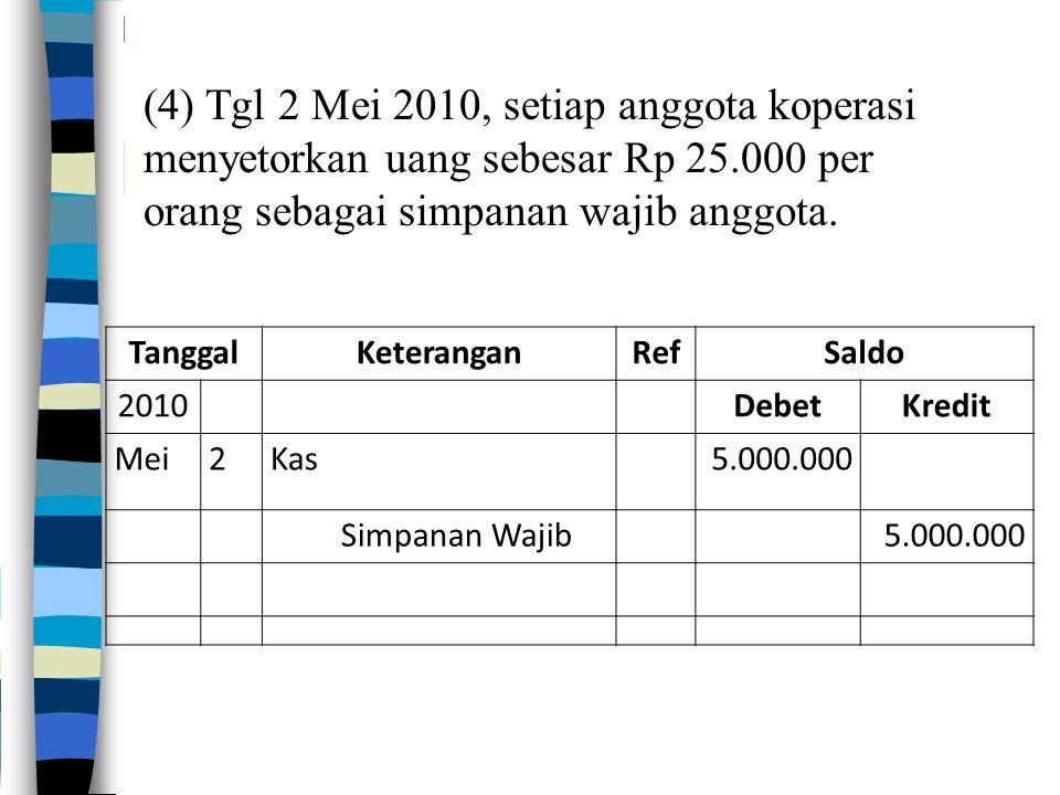 (4) Tgl 2 Mei 2010, setiap anggota koperasi menyetorkan uang sebesar Rp 25.000 per orang sebagai simpanan wajib anggota. TanggalKeteranganRefSaldo 201
