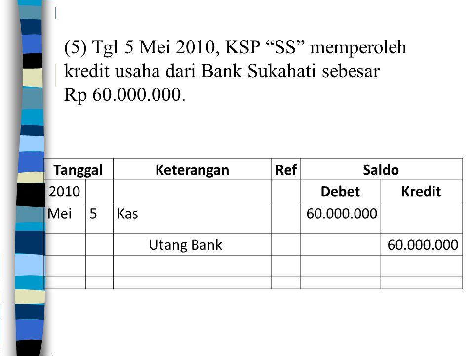 TanggalKeteranganRefSaldo 2010DebetKredit Mei5Kas60.000.000 Utang Bank60.000.000 (5) Tgl 5 Mei 2010, KSP SS memperoleh kredit usaha dari Bank Sukahati sebesar Rp 60.000.000.