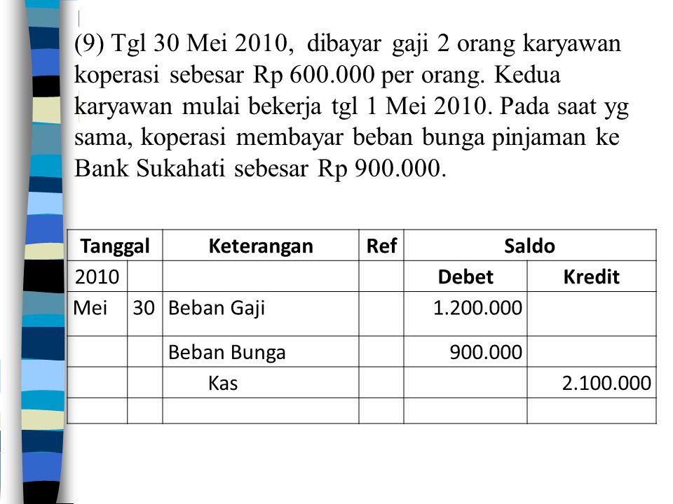 ( 9) Tgl 30 Mei 2010, dibayar gaji 2 orang karyawan koperasi sebesar Rp 600.000 per orang.