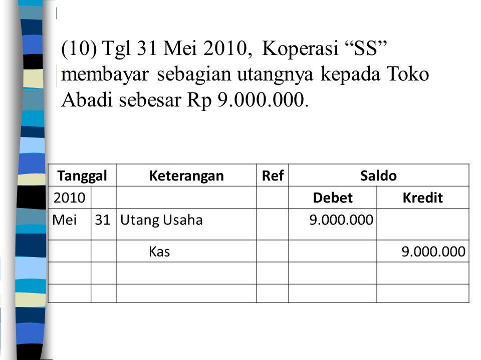 """(10) Tgl 31 Mei 2010, Koperasi """"SS"""" membayar sebagian utangnya kepada Toko Abadi sebesar Rp 9.000.000. TanggalKeteranganRefSaldo 2010DebetKredit Mei31"""