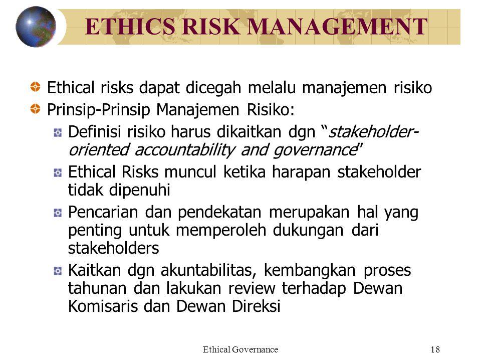 Ethical Governance18 ETHICS RISK MANAGEMENT Ethical risks dapat dicegah melalu manajemen risiko Prinsip-Prinsip Manajemen Risiko: Definisi risiko haru
