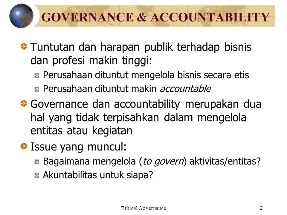 Ethical Governance2 GOVERNANCE & ACCOUNTABILITY Tuntutan dan harapan publik terhadap bisnis dan profesi makin tinggi: Perusahaan dituntut mengelola bi