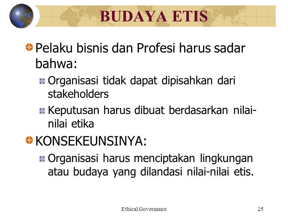 Ethical Governance25 BUDAYA ETIS Pelaku bisnis dan Profesi harus sadar bahwa: Organisasi tidak dapat dipisahkan dari stakeholders Keputusan harus dibu