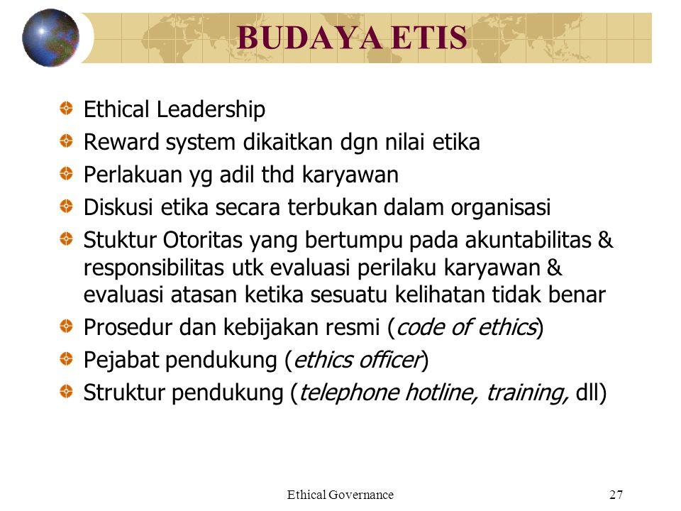 Ethical Governance27 BUDAYA ETIS Ethical Leadership Reward system dikaitkan dgn nilai etika Perlakuan yg adil thd karyawan Diskusi etika secara terbuk