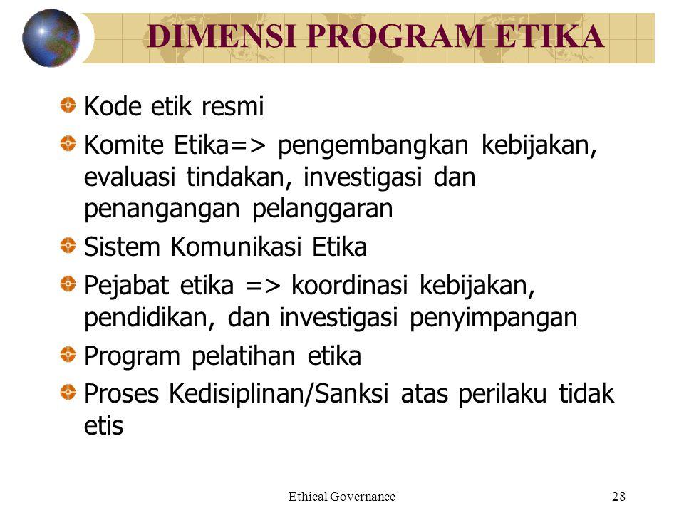 Ethical Governance28 DIMENSI PROGRAM ETIKA Kode etik resmi Komite Etika=> pengembangkan kebijakan, evaluasi tindakan, investigasi dan penangangan pela