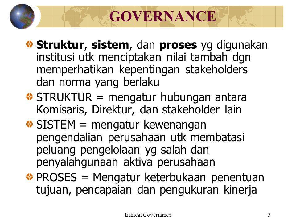 Ethical Governance3 GOVERNANCE Struktur, sistem, dan proses yg digunakan institusi utk menciptakan nilai tambah dgn memperhatikan kepentingan stakehol