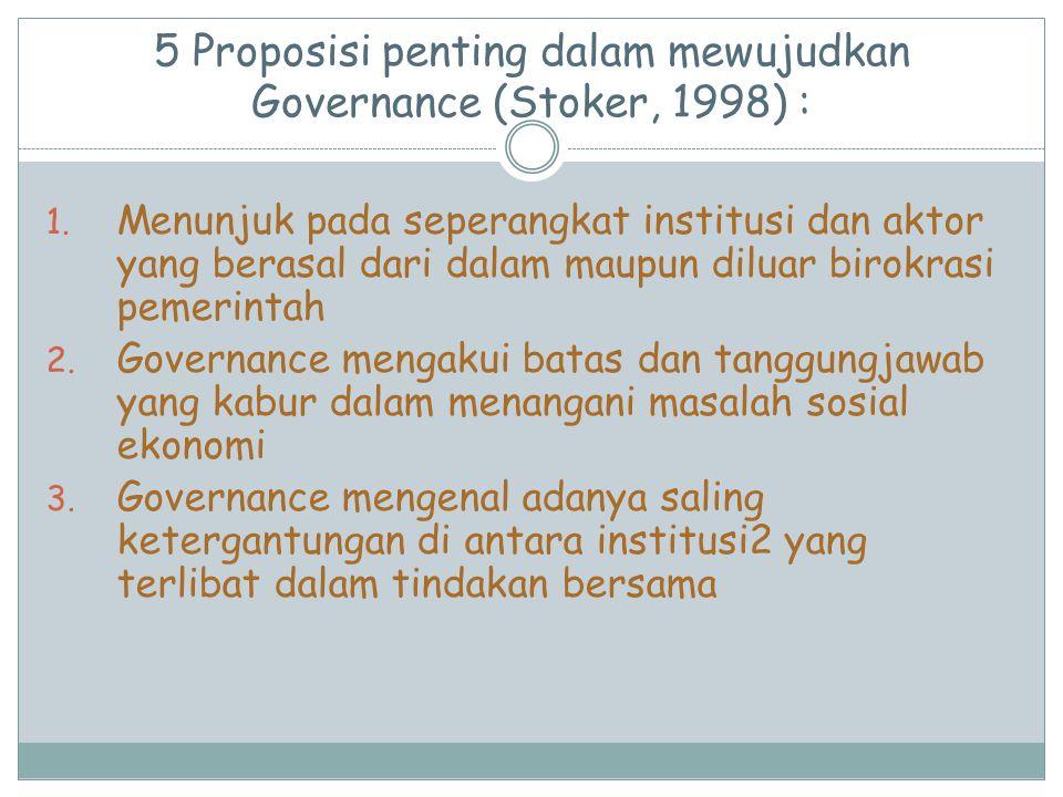 5 Proposisi penting dalam mewujudkan Governance (Stoker, 1998) : 1. Menunjuk pada seperangkat institusi dan aktor yang berasal dari dalam maupun dilua