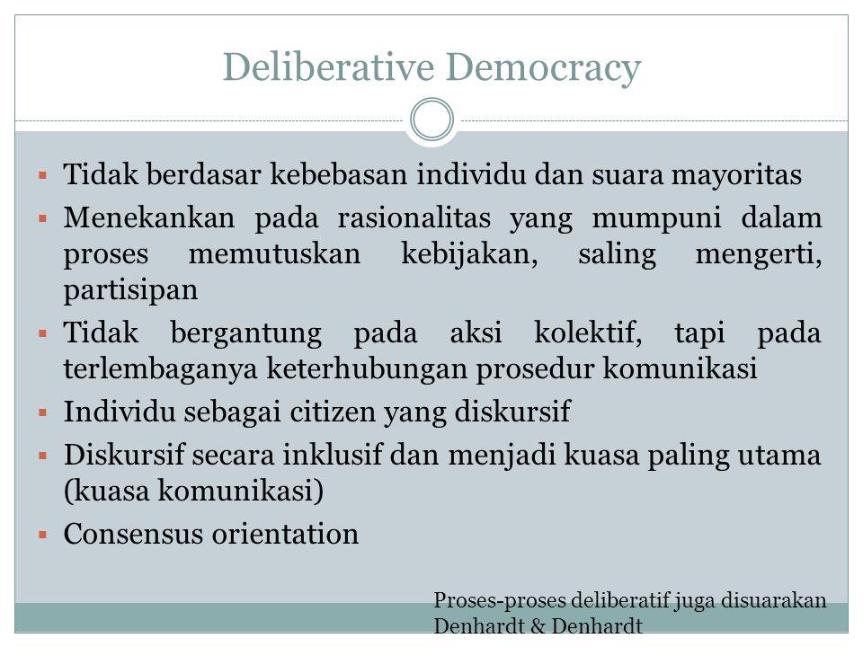 Deliberative Democracy  Tidak berdasar kebebasan individu dan suara mayoritas  Menekankan pada rasionalitas yang mumpuni dalam proses memutuskan keb