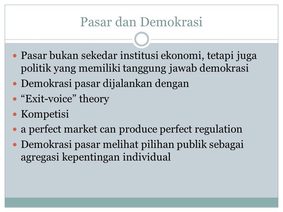 Pasar dan Demokrasi Pasar bukan sekedar institusi ekonomi, tetapi juga politik yang memiliki tanggung jawab demokrasi Demokrasi pasar dijalankan denga