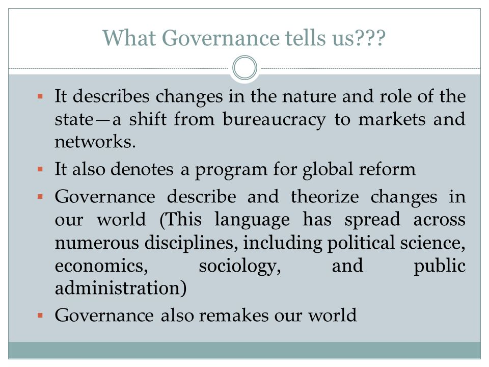 What Governance tells us??.