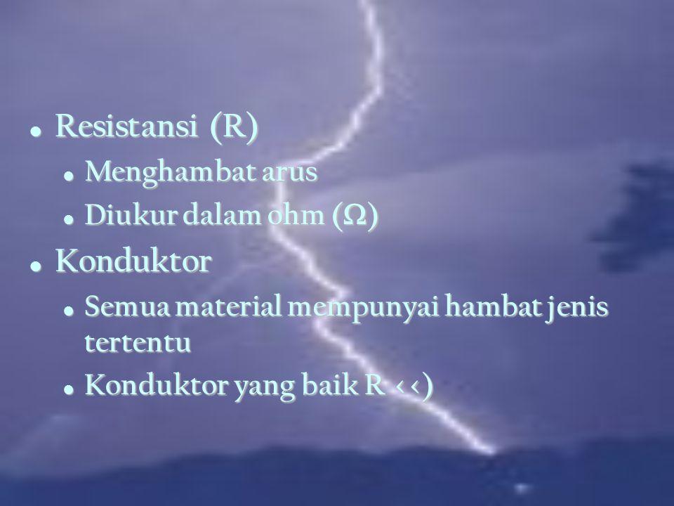 Konsep arus Aliran electron per detik Aliran electron per detik Satuan = ampere Satuan = ampere 1 amp = 1 coulomb/sec = 6x1018 electrons/sec 1 amp = 1