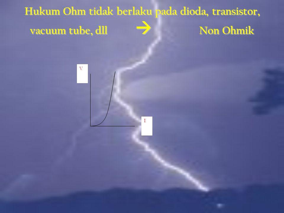 V I Hukum Ohm  Konduktor tertentu ( logam,dll) R konstan  V dan I Linear