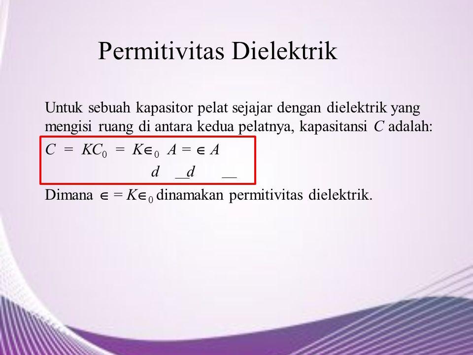 Permitivitas Dielektrik Untuk sebuah kapasitor pelat sejajar dengan dielektrik yang mengisi ruang di antara kedua pelatnya, kapasitansi C adalah: C =