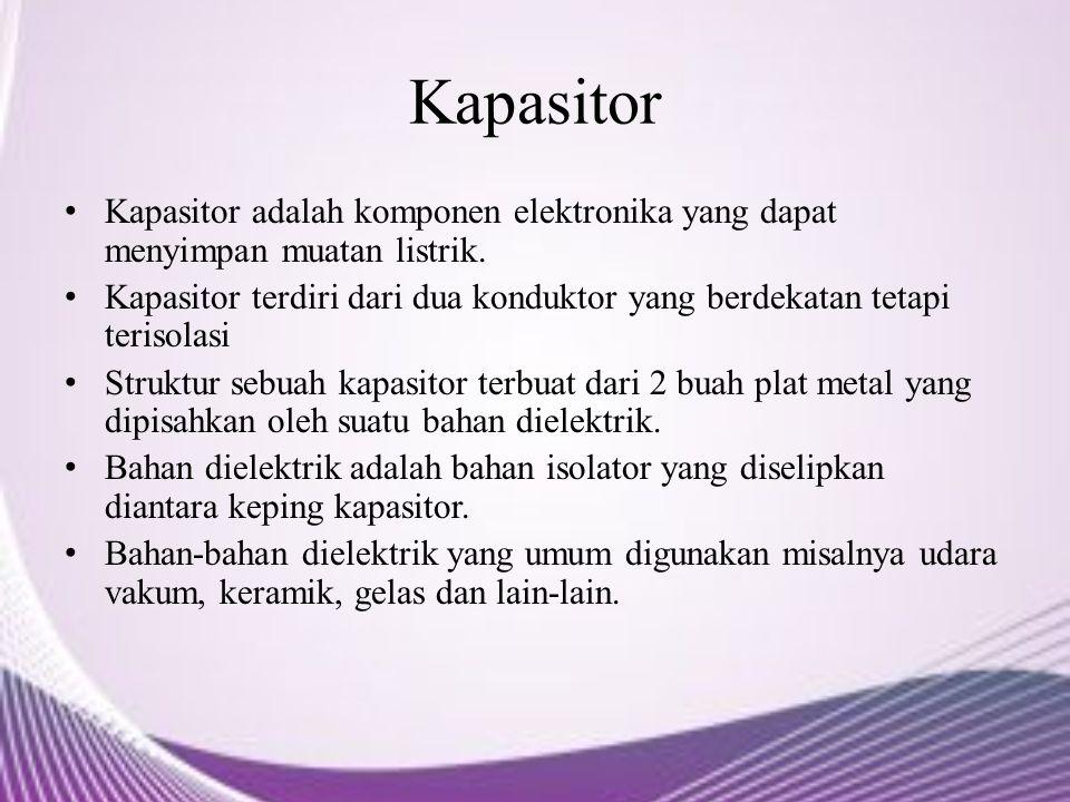 Kapasitor Kapasitor adalah komponen elektronika yang dapat menyimpan muatan listrik. Kapasitor terdiri dari dua konduktor yang berdekatan tetapi teris