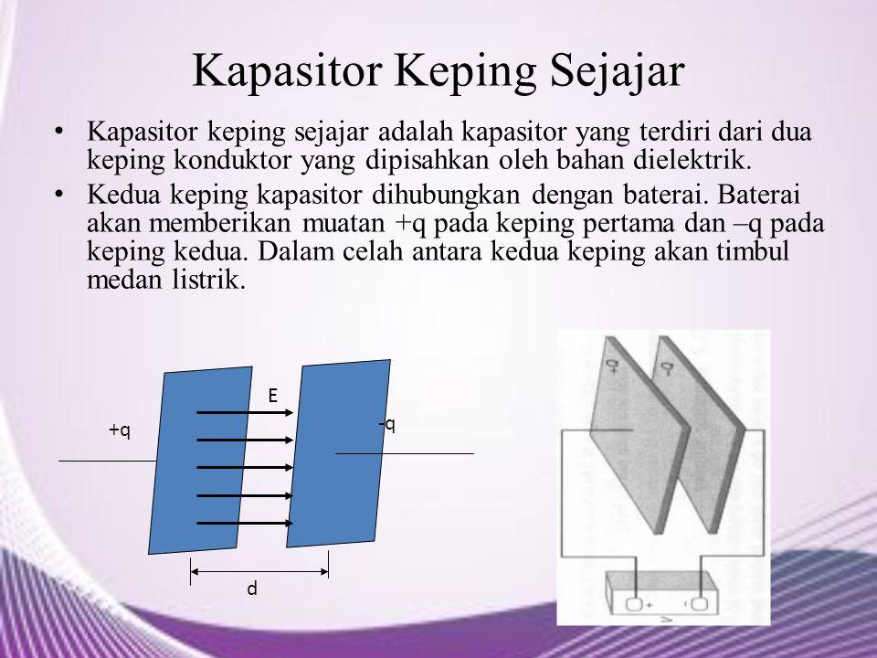 Kapasitor Keping Sejajar Kapasitor keping sejajar adalah kapasitor yang terdiri dari dua keping konduktor yang dipisahkan oleh bahan dielektrik. Kedua