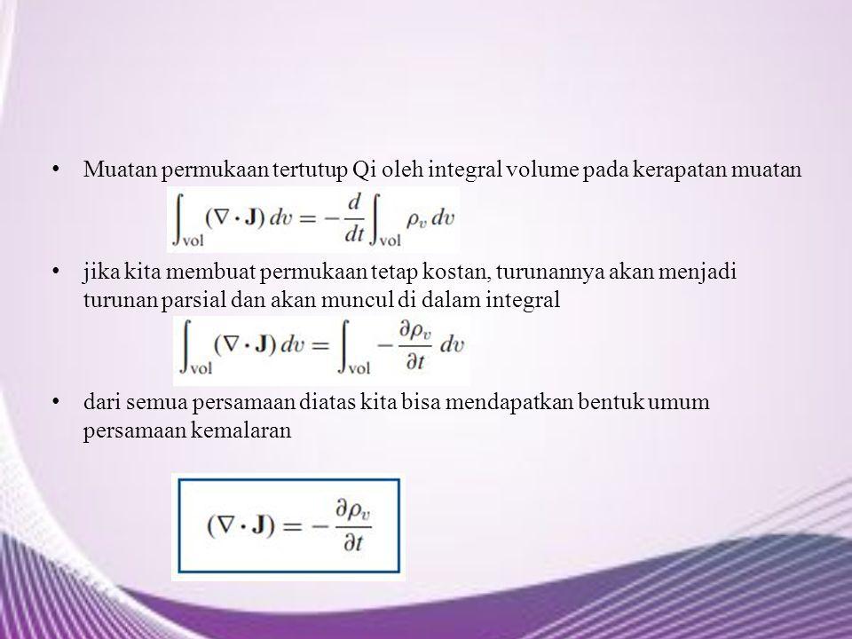 Muatan permukaan tertutup Qi oleh integral volume pada kerapatan muatan jika kita membuat permukaan tetap kostan, turunannya akan menjadi turunan pars