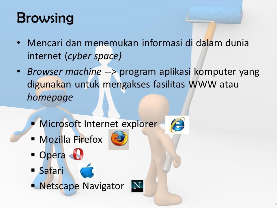 Browsing Mencari dan menemukan informasi di dalam dunia internet (cyber space) Browser machine --> program aplikasi komputer yang digunakan untuk mengakses fasilitas WWW atau homepage  Microsoft Internet explorer  Mozilla Firefox  Opera  Safari  Netscape Navigator