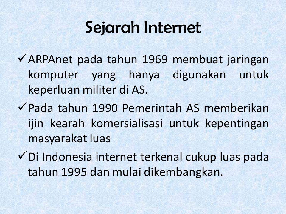 Sejarah Internet ARPAnet pada tahun 1969 membuat jaringan komputer yang hanya digunakan untuk keperluan militer di AS.