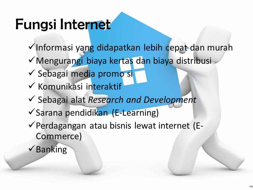 Fungsi Internet Informasi yang didapatkan lebih cepat dan murah Mengurangi biaya kertas dan biaya distribusi Sebagai media promo si Komunikasi interaktif Sebagai alat Research and Development Sarana pendidikan (E-Learning) Perdagangan atau bisnis lewat internet (E- Commerce) Banking