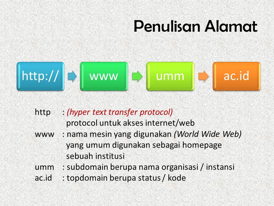 Penulisan Alamat http://wwwummac.id http : (hyper text transfer protocol) protocol untuk akses internet/web www: nama mesin yang digunakan (World Wide Web) yang umum digunakan sebagai homepage sebuah institusi umm: subdomain berupa nama organisasi / instansi ac.id: topdomain berupa status / kode