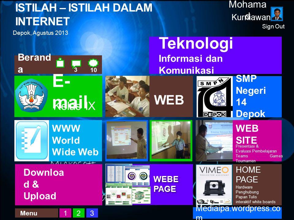 ISTILAH – ISTILAH DALAM INTERNET Kurniawan Mohama d Depok, Agustus 2013 WEB Teknologi Informasi dan Komunikasi WEB SITE Presentasi & Evaluasi Pembelaj