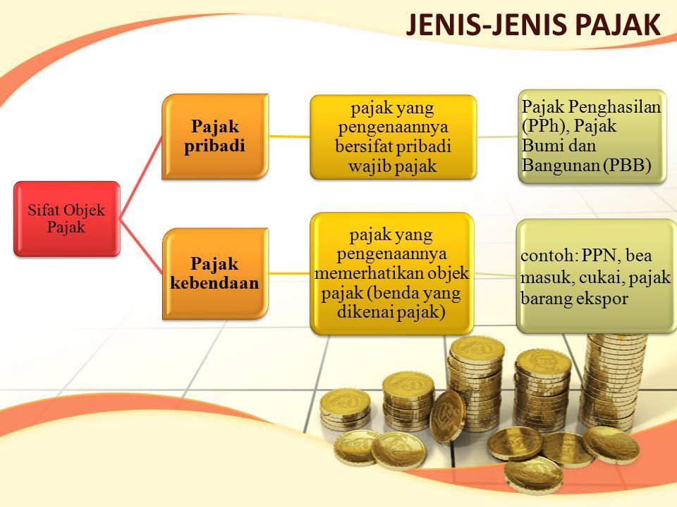 JENIS-JENIS PAJAK Sifat Objek Pajak Pajak pribadi pajak yang pengenaannya bersifat pribadi wajib pajak Pajak Penghasilan (PPh), Pajak Bumi dan Banguna
