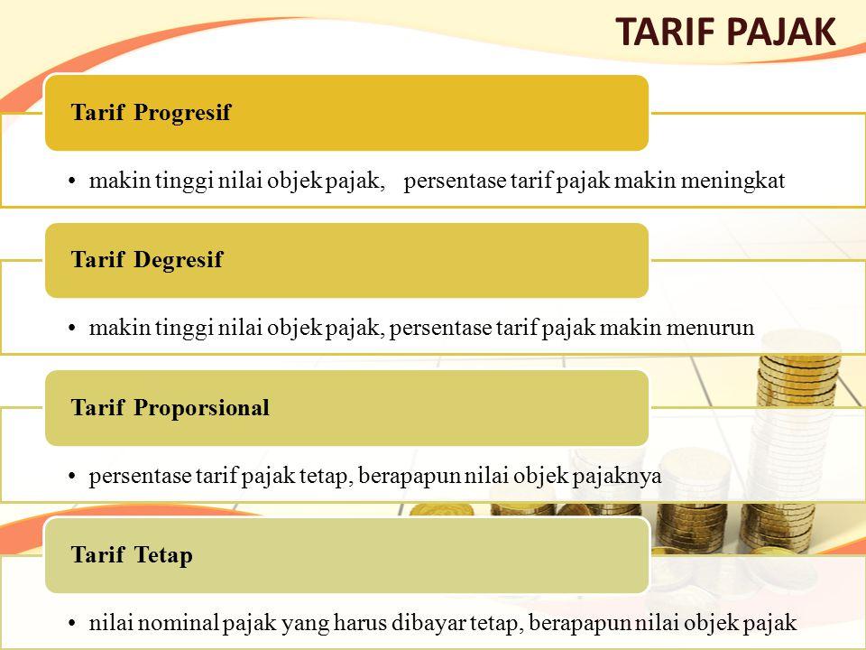 TARIF PAJAK makin tinggi nilai objek pajak, persentase tarif pajak makin meningkat Tarif Progresif makin tinggi nilai objek pajak, persentase tarif pa