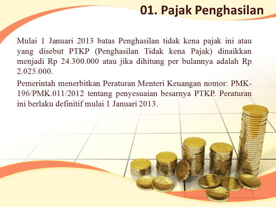 Mulai 1 Januari 2013 batas Penghasilan tidak kena pajak ini atau yang disebut PTKP (Penghasilan Tidak kena Pajak) dinaikkan menjadi Rp 24.300.000 atau