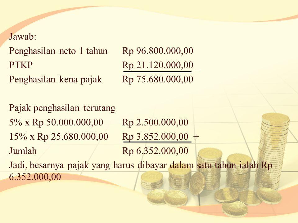 Jawab: Penghasilan neto 1 tahunRp 96.800.000,00 PTKPRp 21.120.000,00 _ Penghasilan kena pajakRp 75.680.000,00 Pajak penghasilan terutang 5% x Rp 50.000.000,00Rp 2.500.000,00 15% x Rp 25.680.000,00Rp 3.852.000,00 + JumlahRp 6.352.000,00 Jadi, besarnya pajak yang harus dibayar dalam satu tahun ialah Rp 6.352.000,00