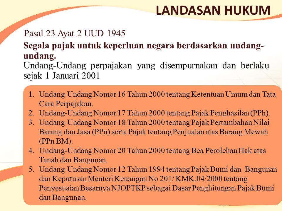 LANDASAN HUKUM Segala pajak untuk keperluan negara berdasarkan undang- undang. Pasal 23 Ayat 2 UUD 1945 Undang-Undang perpajakan yang disempurnakan da