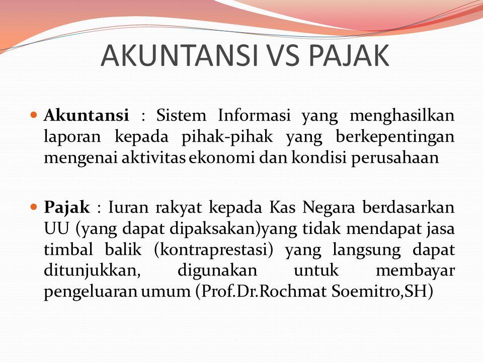 AKUNTANSI VS PAJAK Akuntansi : Sistem Informasi yang menghasilkan laporan kepada pihak-pihak yang berkepentingan mengenai aktivitas ekonomi dan kondis