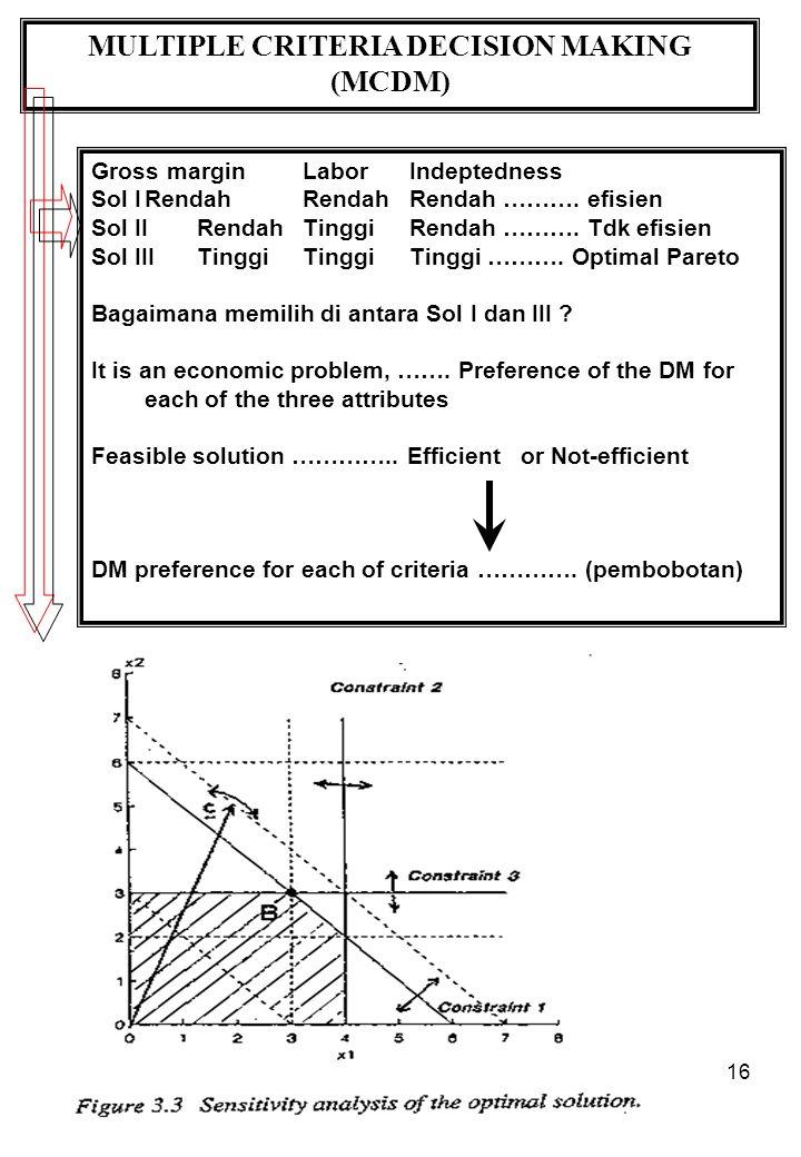 16 MULTIPLE CRITERIA DECISION MAKING (MCDM) Gross marginLaborIndeptedness Sol IRendahRendahRendah ……….