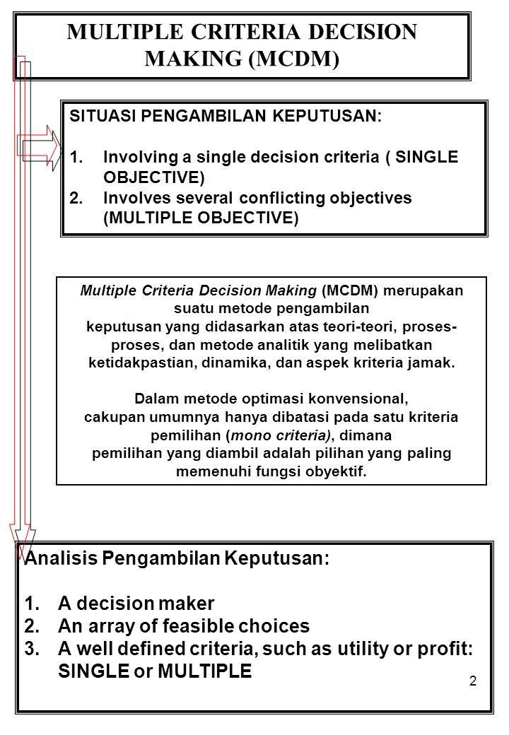 2 MULTIPLE CRITERIA DECISION MAKING (MCDM) SITUASI PENGAMBILAN KEPUTUSAN: 1.Involving a single decision criteria ( SINGLE OBJECTIVE) 2.Involves several conflicting objectives (MULTIPLE OBJECTIVE) Analisis Pengambilan Keputusan: 1.A decision maker 2.An array of feasible choices 3.A well defined criteria, such as utility or profit: SINGLE or MULTIPLE Multiple Criteria Decision Making (MCDM) merupakan suatu metode pengambilan keputusan yang didasarkan atas teori-teori, proses- proses, dan metode analitik yang melibatkan ketidakpastian, dinamika, dan aspek kriteria jamak.