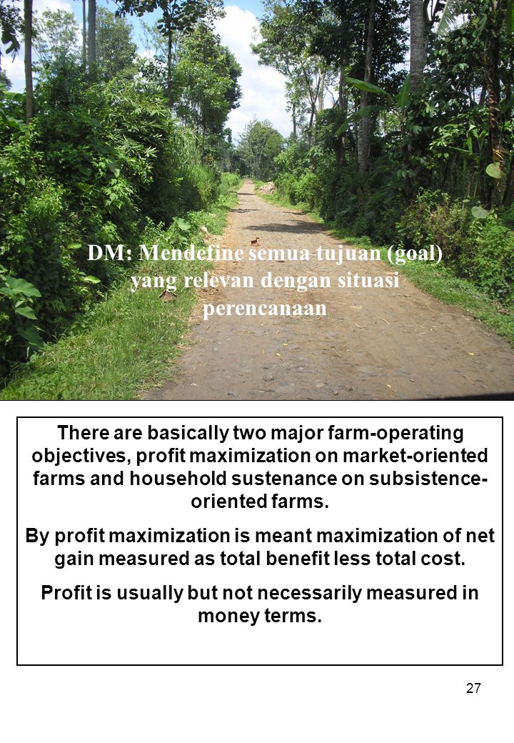27 DM: Mendefine semua tujuan (goal) yang relevan dengan situasi perencanaan There are basically two major farm-operating objectives, profit maximization on market-oriented farms and household sustenance on subsistence- oriented farms.