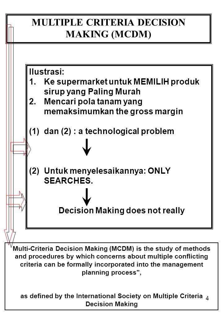 4 MULTIPLE CRITERIA DECISION MAKING (MCDM) Ilustrasi: 1.Ke supermarket untuk MEMILIH produk sirup yang Paling Murah 2.Mencari pola tanam yang memaksimumkan the gross margin (1)dan (2) : a technological problem (2)Untuk menyelesaikannya: ONLY SEARCHES.