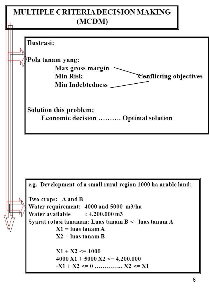 6 MULTIPLE CRITERIA DECISION MAKING (MCDM) Ilustrasi: Pola tanam yang: Max gross margin Min RiskConflicting objectives Min Indebtedness Solution this problem: Economic decision ……….