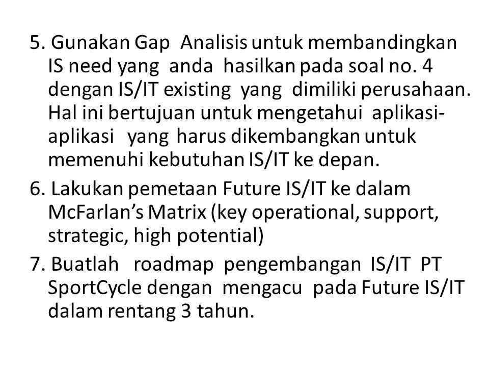 5. Gunakan Gap Analisis untuk membandingkan IS need yang anda hasilkan pada soal no. 4 dengan IS/IT existing yang dimiliki perusahaan. Hal ini bertuju