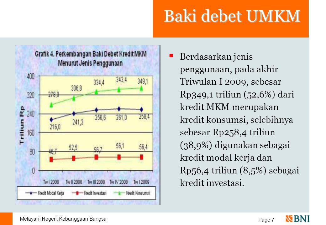 Melayani Negeri, Kebanggaan Bangsa Page 7 Baki debet UMKM  Berdasarkan jenis penggunaan, pada akhir Triwulan I 2009, sebesar Rp349,1 triliun (52,6%)