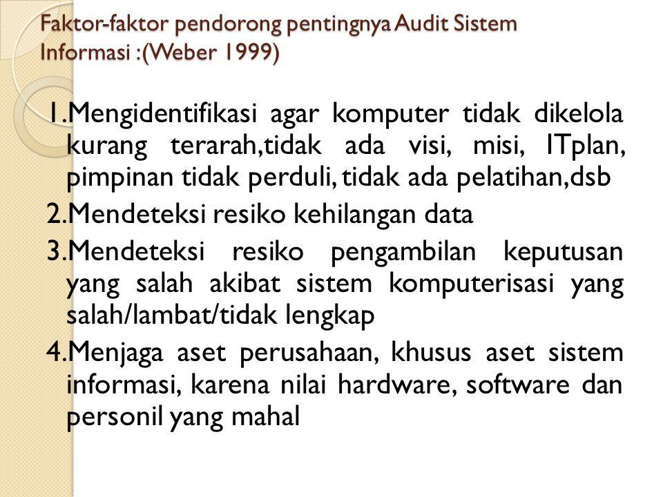 Faktor-faktor pendorong pentingnya Audit Sistem Informasi :(Weber 1999) 1.Mengidentifikasi agar komputer tidak dikelola kurang terarah,tidak ada visi,