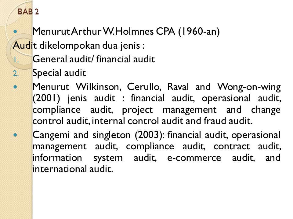 BAB 2 Menurut Arthur W.Holmnes CPA (1960-an) Audit dikelompokan dua jenis : 1. General audit/ financial audit 2. Special audit Menurut Wilkinson, Ceru