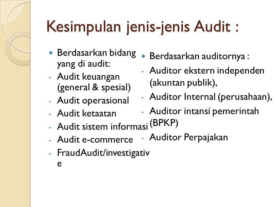 Kesimpulan jenis-jenis Audit : Berdasarkan bidang yang di audit: - Audit keuangan (general & spesial) - Audit operasional - Audit ketaatan - Audit sis