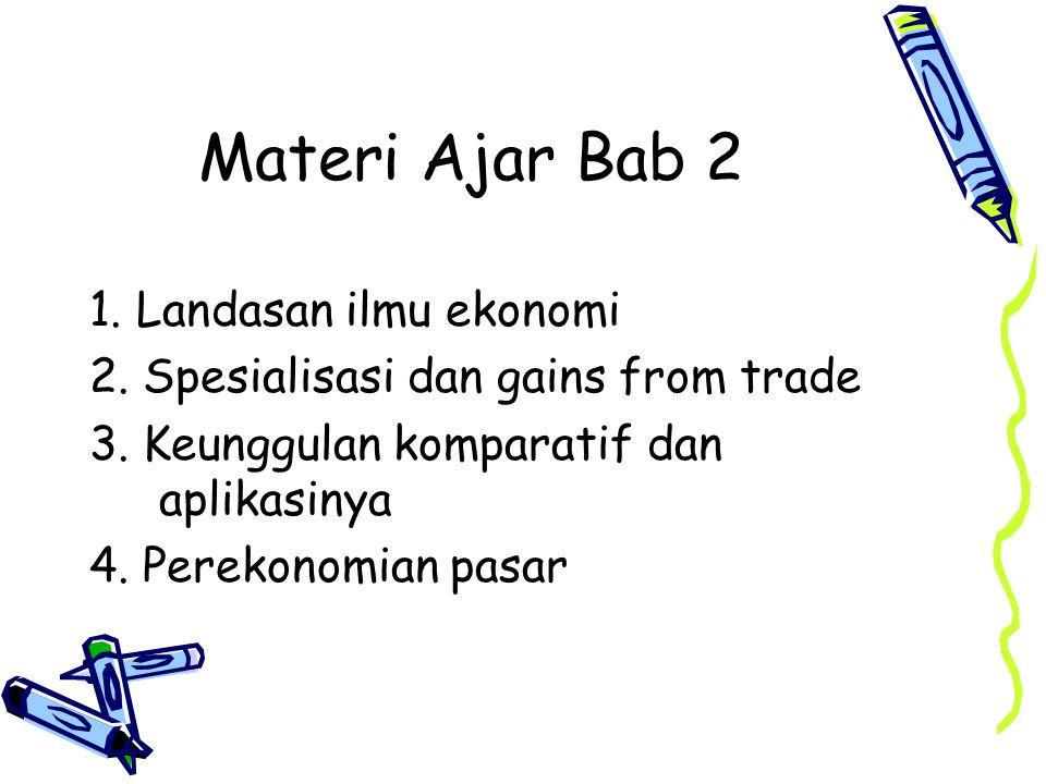Materi Ajar Bab 2 1. Landasan ilmu ekonomi 2. Spesialisasi dan gains from trade 3. Keunggulan komparatif dan aplikasinya 4. Perekonomian pasar