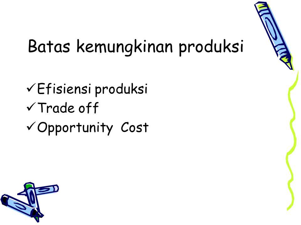 Batas kemungkinan produksi Efisiensi produksi Trade off Opportunity Cost