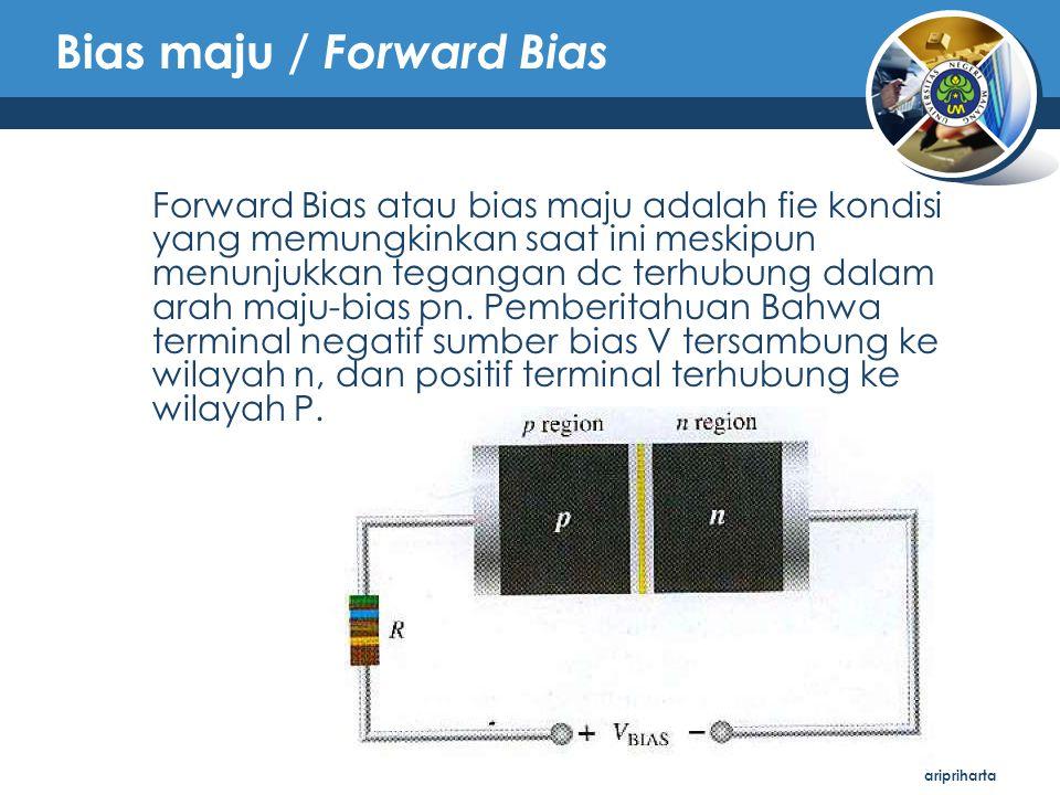 aripriharta Bias maju / Forward Bias Forward Bias atau bias maju adalah fie kondisi yang memungkinkan saat ini meskipun menunjukkan tegangan dc terhub